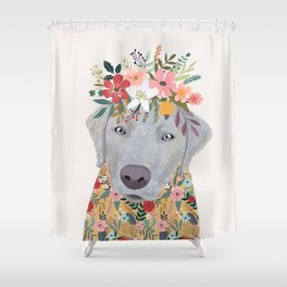 Silver Labrador with Flowers Shower Curtain