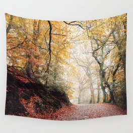Path through the Autumn Forest Wall Tapestry