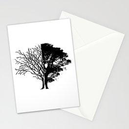 Half Tree Leaves Half No Leaves Art Stationery Cards