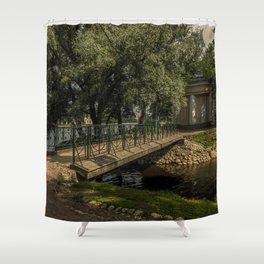 A bridge in a city garden, gazebo, garden house, lake, trees, St. Petersburg (Russia) (2018-7SPB46) Shower Curtain