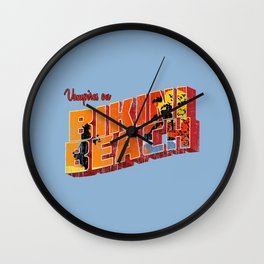 Vampires on Bikini Beach Wall Clock