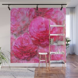 Painterly Pink Zinnia Watercolor Wall Mural
