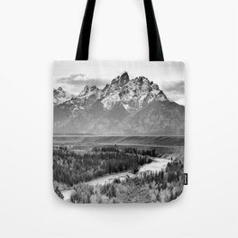 Grand Teton Black & White Wyoming National Park Mountain Landscape Tote Bag