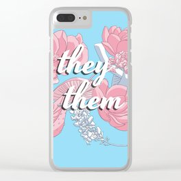They/Them Floral Pronoun Design Clear iPhone Case