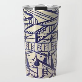 Hieroglyphic Tribal Chevron Doodle Travel Mug