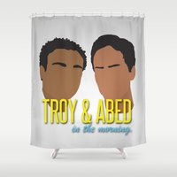 community Shower Curtains featuring Troy & Abed In The Morning - Community by Tino-George