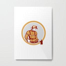 Fireman Firefighter Holding Fire Axe Circle Metal Print