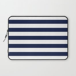Nautical Navy Blue and White Stripes Laptop Sleeve