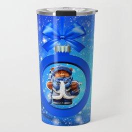 Blue Christmas Teddy Bear Travel Mug