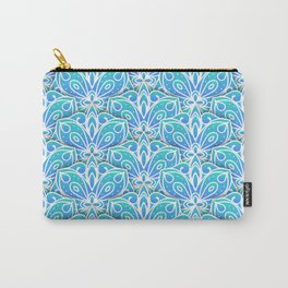 Decorative Layers of Blue Flowers Carry-All Pouch