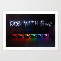gorillaz Art Prints featuring Kids With Guns by John Andrews Design