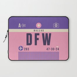 Retro Airline Luggage Tag - DFW Dallas Fort Worth Laptop Sleeve