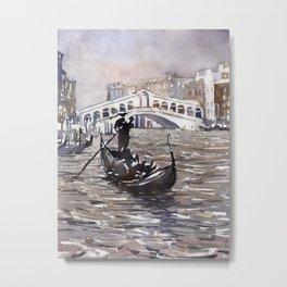 Rialto Bridge and gondolas in medieval city of Venice, Italy.  Watercolor painting of Venice. Metal Print