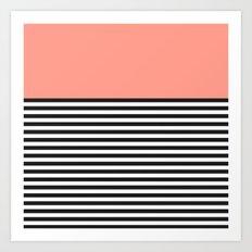 STRIPE COLORBLOCK {CORAL} Art Print