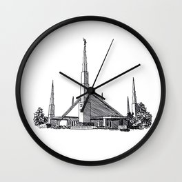 Dallas Texas LDS Temple Ink Drawing Wall Clock