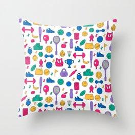 Sport doodles pattern Throw Pillow