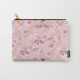 Vintage chic rose pink white red boho floral pattern Carry-All Pouch