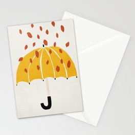 Umbrella, Autumn, Mid century modern kids wall art, Nursery room Stationery Cards
