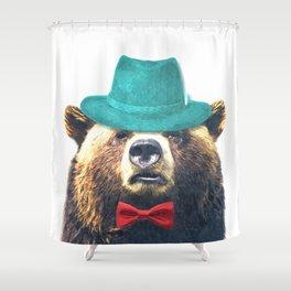 Funny Bear Illustration Shower Curtain