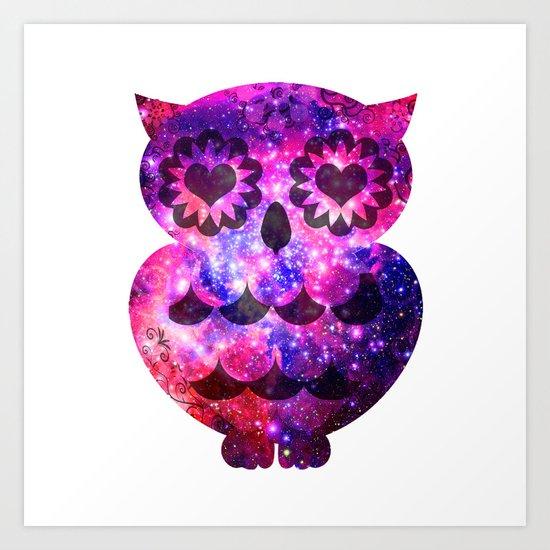Girly Retro Heart Owl Pink Teal Nebula Galaxy Art Print