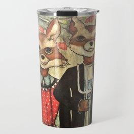 American Gothic Foxes Travel Mug