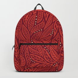 Polynesian Tribal Tattoo Red Floral Design Backpack