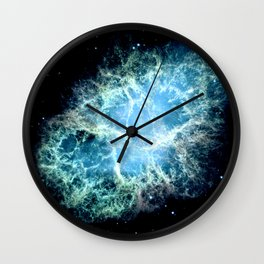 Crab Nebula : Aqua Teal Blue Galaxy Wall Clock