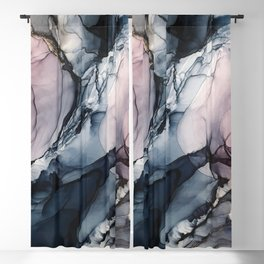 Blush, Navy and Gray Abstract Calm Clouds Blackout Curtain