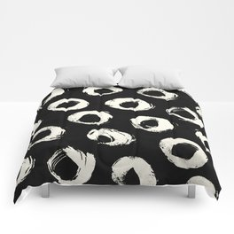 Polka Dots Cream on Black 2 Comforters