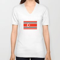 indonesia V-neck T-shirts featuring aceh indonesia ethnic flag by tony tudor