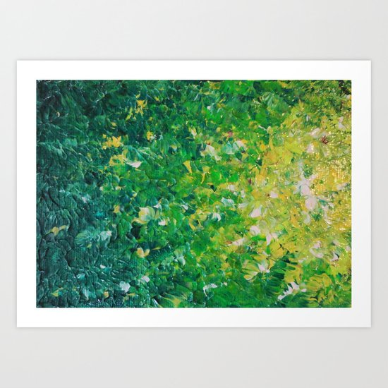 LAKE GRASS - Original Acrylic Abstract Painting Lake Seaweed Hunter Forest Kelly Green Water Lovely Art Print
