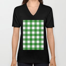 Gingham (Forest Green/White) Unisex V-Neck