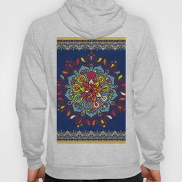 V10 Moroccan Art Traditional Floral Design Hoody