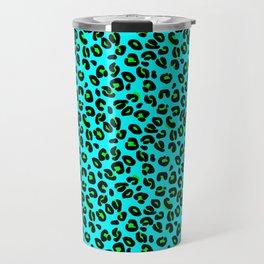 Aqua Leopard Spots Animal Print Pattern Travel Mug