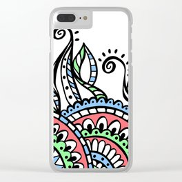 Leafy Lace Medallions - Coral Blue Green Clear iPhone Case