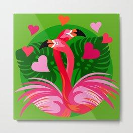 Flamingo Hug Metal Print