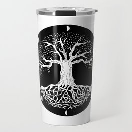 black and white tree of life with moon phases and celtic trinity knot Travel Mug