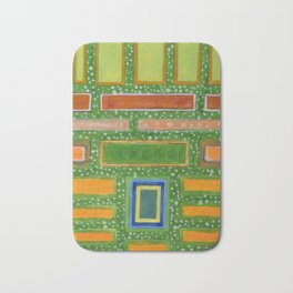 Filled Rectangles on Green Dotted Wall Bath Mat