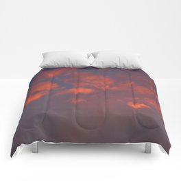 Red clouds shining at sunset Comforters