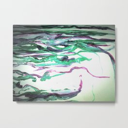Abstract Waterfall Acrylic Painting Metal Print