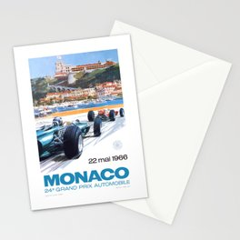 1966 MONACO Grand Prix Racing Poster Stationery Cards