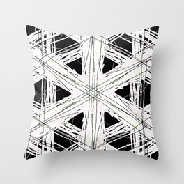 Black & white rattan pattern w/ peekaboo pink and green strings Throw Pillow
