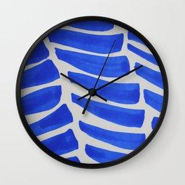 Royal blue Stripes pattern Wall Clock