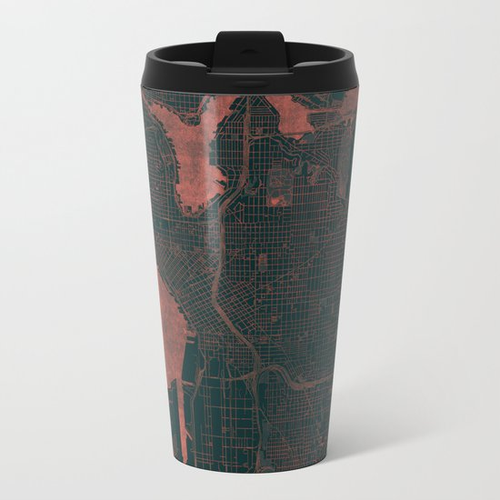 Seattle Map Red Metal Travel Mug