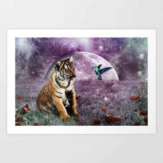 Tiger and Hummingbird Art Print