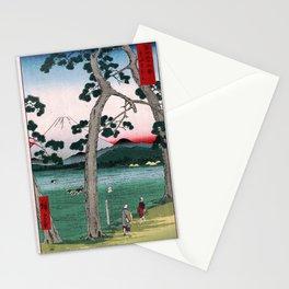 Hiroshige - 36 Views of Mount Fuji (1858) - 25: Fuji on the left of the Tōkaidō Road Stationery Cards