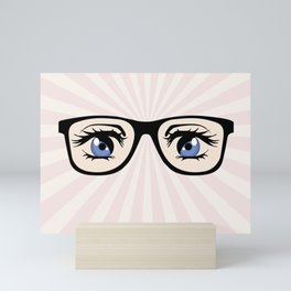 Manga glasses Mini Art Print