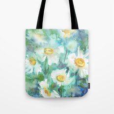 watercolor drawing - white daisies on a blue and green background, beautiful bouquet, painting Tote Bag