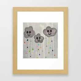 happy clouds Framed Art Print