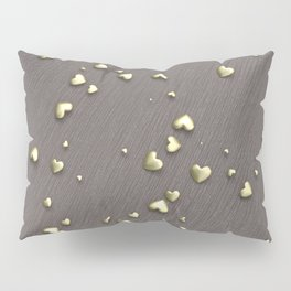 VALENTINE HEARTS - Gold Hearts & Dark Pinstripe Pillow Sham
